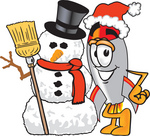 Clip Art Graphic of a Space Rocket Cartoon Character With a Snowman on Christmas