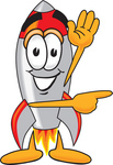 Clip Art Graphic of a Space Rocket Cartoon Character Waving and Pointing