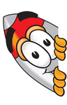 Clip Art Graphic of a Space Rocket Cartoon Character Peeking Around a Corner