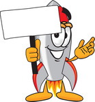 Clip Art Graphic of a Space Rocket Cartoon Character Holding a Blank Sign
