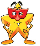 Clip Art Graphic of a Yellow Star Cartoon Character Wearing a Red Mask Over His Face
