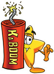 Clip Art Graphic of a Yellow Star Cartoon Character Standing With a Lit Stick of Dynamite