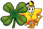 Clip Art Graphic of a Yellow Star Cartoon Character With a Green Four Leaf Clover on St Paddy's or St Patricks Day