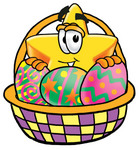 Clip Art Graphic of a Yellow Star Cartoon Character in an Easter Basket Full of Decorated Easter Eggs