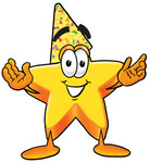 Clip Art Graphic of a Yellow Star Cartoon Character Wearing a Birthday Party Hat