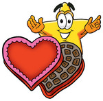 Clip Art Graphic of a Yellow Star Cartoon Character With an Open Box of Valentines Day Chocolate Candies