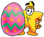 Clip Art Graphic of a Yellow Star Cartoon Character Standing Beside an Easter Egg