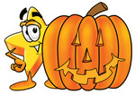 Clip Art Graphic of a Yellow Star Cartoon Character With a Carved Halloween Pumpkin