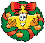 Clip Art Graphic of a Yellow Star Cartoon Character in the Center of a Christmas Wreath