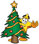 Clip Art Graphic of a Yellow Star Cartoon Character Waving and Standing by a Decorated Christmas Tree
