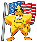 Clip Art Graphic of a Yellow Star Cartoon Character Pledging Allegiance to an American Flag