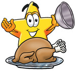 Clip Art Graphic of a Yellow Star Cartoon Character Serving a Thanksgiving Turkey on a Platter