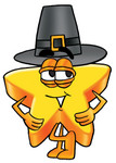 Clip Art Graphic of a Yellow Star Cartoon Character Wearing a Pilgrim Hat on Thanksgiving