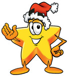 Clip Art Graphic of a Yellow Star Cartoon Character Wearing a Santa Hat and Waving