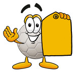 Clip Art Graphic of a White Soccer Ball Cartoon Character Holding a Yellow Sales Price Tag