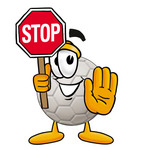 Clip Art Graphic of a White Soccer Ball Cartoon Character Holding a Stop Sign