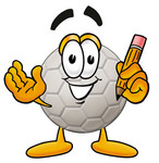 Clip Art Graphic of a White Soccer Ball Cartoon Character Holding a Pencil