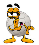 Clip Art Graphic of a White Soccer Ball Cartoon Character Whispering and Gossiping