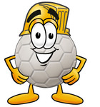 Clip Art Graphic of a White Soccer Ball Cartoon Character Wearing a Hardhat Helmet