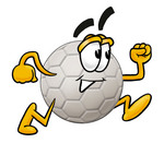Clip Art Graphic of a White Soccer Ball Cartoon Character Running