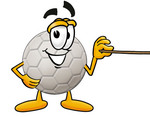 Clip Art Graphic of a White Soccer Ball Cartoon Character Holding a Pointer Stick