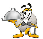 Clip Art Graphic of a White Soccer Ball Cartoon Character Dressed as a Waiter and Holding a Serving Platter