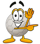 Clip Art Graphic of a White Soccer Ball Cartoon Character Waving and Pointing
