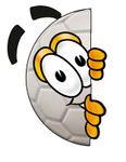 Clip Art Graphic of a White Soccer Ball Cartoon Character Peeking Around a Corner