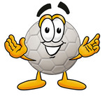 Clip Art Graphic of a White Soccer Ball Cartoon Character With Welcoming Open Arms