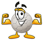 Clip Art Graphic of a White Soccer Ball Cartoon Character Flexing His Arm Muscles