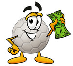 Clip Art Graphic of a White Soccer Ball Cartoon Character Holding a Dollar Bill