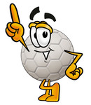 Clip Art Graphic of a White Soccer Ball Cartoon Character Pointing Upwards
