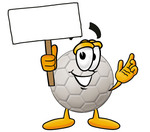 Clip Art Graphic of a White Soccer Ball Cartoon Character Holding a Blank Sign