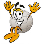 Clip Art Graphic of a White Soccer Ball Cartoon Character Jumping