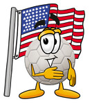 Clip Art Graphic of a White Soccer Ball Cartoon Character Pledging Allegiance to an American Flag