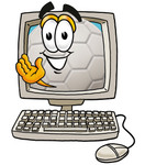 Clip Art Graphic of a White Soccer Ball Cartoon Character Waving From Inside a Computer Screen