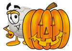 Clip Art Graphic of a White Soccer Ball Cartoon Character With a Carved Halloween Pumpkin