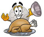 Clip Art Graphic of a White Soccer Ball Cartoon Character Serving a Thanksgiving Turkey on a Platter