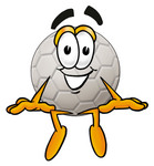 Clip Art Graphic of a White Soccer Ball Cartoon Character Sitting