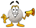 Clip Art Graphic of a White Soccer Ball Cartoon Character Holding a Megaphone