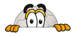 Clip Art Graphic of a White Soccer Ball Cartoon Character Peeking Over a Surface