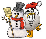 Clip Art Graphic of a White Soccer Ball Cartoon Character With a Snowman on Christmas