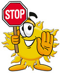 Clip Art Graphic of a Yellow Sun Cartoon Character Holding a Stop Sign
