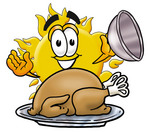 Clip Art Graphic of a Yellow Sun Cartoon Character Serving a Thanksgiving Turkey on a Platter
