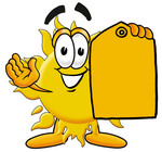 Clip Art Graphic of a Yellow Sun Cartoon Character Holding a Yellow Sales Price Tag