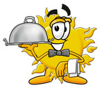 Clip Art Graphic of a Yellow Sun Cartoon Character Dressed as a Waiter and Holding a Serving Platter