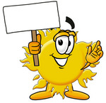 Clip Art Graphic of a Yellow Sun Cartoon Character Holding a Blank Sign
