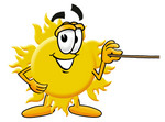 Clip Art Graphic of a Yellow Sun Cartoon Character Holding a Pointer Stick