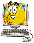 Clip Art Graphic of a Yellow Sun Cartoon Character Waving From Inside a Computer Screen