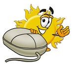 Clip Art Graphic of a Yellow Sun Cartoon Character With a Computer Mouse